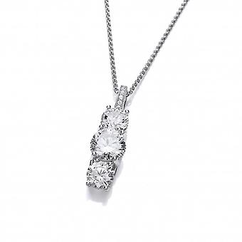 Cavendish French Silver and Triple CZ Solitaire Pendant with 16-18