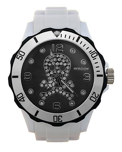 Waooh - Death Watch Strass head 39 with Black Dial & Bezel Silver