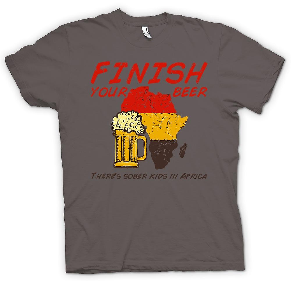 Womens T-shirt - Finish Your Beer Theres Sober Kids In Africa - Funny