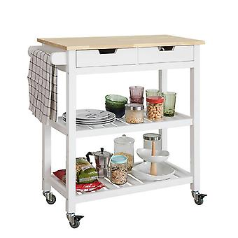SoBuy Kitchen Storage Trolley Serving Cart with Drawers & Shelves FKW68-WN