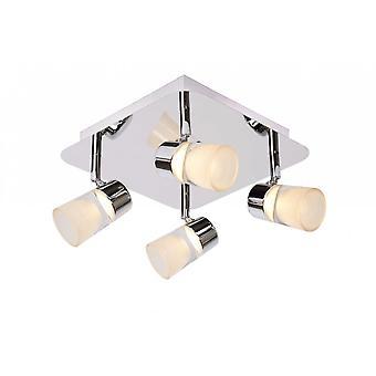 Lucide Xanto-LED moderne vierkante metalen chroom en opaal plafondlamp Spot