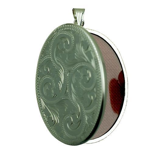 Silber 45x35mm Hand graviert flachen ovalen Medaillon