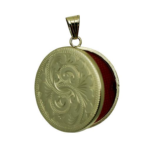 9ct Gold 29mm flat round hand engraved Locket