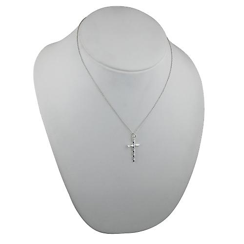 Silver 29x16mm fancy twist Cross with a rolo Chain 18 inches