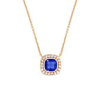 Bertha Juliet Collection Women's 18K RG Plated Blue Cushion Halo Fashion Necklace