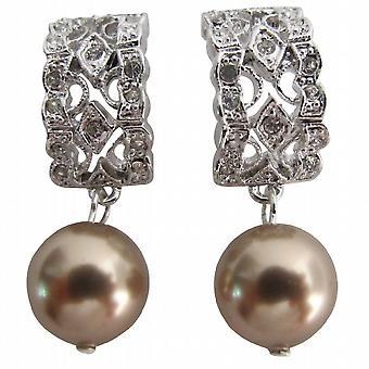 Elegant Bridal Jewelry Bronze Pearl Earrings