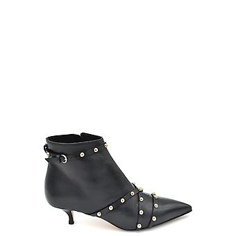 Red Valentino Black Leather Ankle Boots