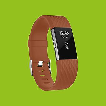 For Fitbit parti 2 plast / silikone armbånd til mænd / størrelse L Brown watch