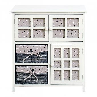 Möbler Rebecca Comodino tro shabby beige 3 Ante 2 lådor 65x60x35