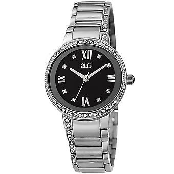 Burgi Women's Quartz Mother of Pearl Swarovski Accented Bracelet Watch BUR187SSBK