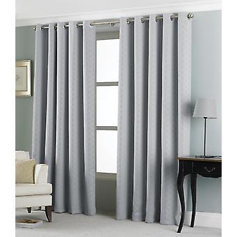 Country Club Eden Jacquard Curtains 66 x 72, Silver
