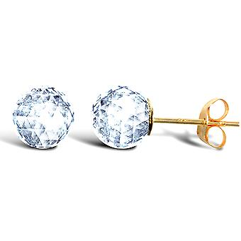 Jewelco London Ladies 9ct Yellow Gold White Round Sphere Crystal Faceted Ball Stud Earrings, 6mm