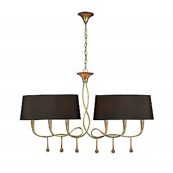 Mantra Paola Pendant 2 Arm 6 Light E14, Gold Painted With Black Shades & Amber Glass Droplets