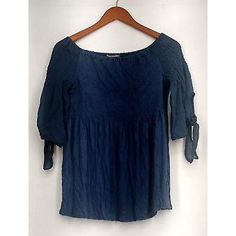 Kate Mallory Top Smocked Off The Shoulder Top Chiffon Tie Sleeve Blue A433491