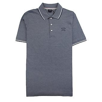 Paul and Shark Paul And Shark Heren Polo Shirt Short Sleeve Blue/White 282