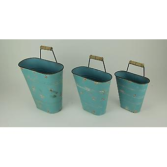 Blue Vintage Patina Metal Wall Basket with Wood Handle Set of 3