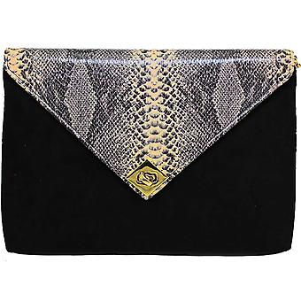 ZLV359 Tessie Ladies Snake Suede Clutch Bag