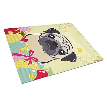 Fawn Pug Easter Egg Hunt Glass Cutting Board Large BB1944LCB