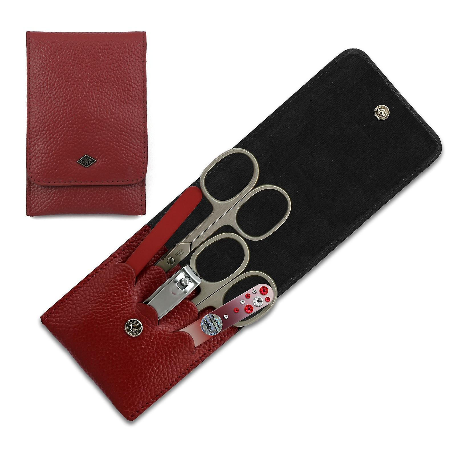 5-Piece Elegant Solingen Women Manicure Set in Red Leather Case, with crystals