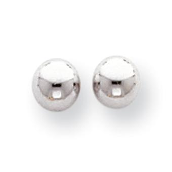14k White Gold Polished 5mm Ball Post Earrings - .3 Grams - Measures 5x5mm