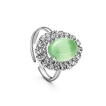 Platinum Plated Green Oval Glass Resizable Ring