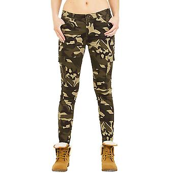 Mid Rise Camouflage Slim Cargo Trousers - Dark Green