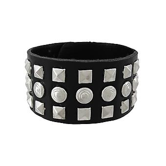 Black Vinyl Wristband with Pyramid/Chrome Studs