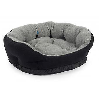 Sleepy Paws Luxurious Soft Bed Black Suede/grey Fleece 91cm