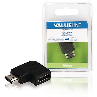 ValueLine HDMI adaptor HDMI connector, right angle HDMI input, black
