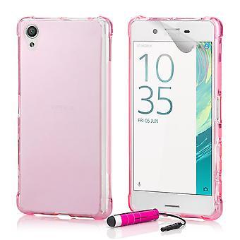 Hård Gel tilfældet + stylus til Sony Xperia X - Hot Pink