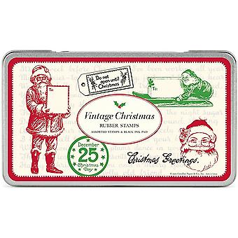 Cavallini Vintage Christmas Rubber Stamps x 6 stamps & Ink Pad Gift Set
