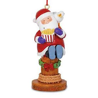 Santa and Seagull Eating Boardwalk Fries Christmas Holiday Ornament