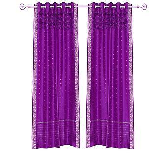 Violet Rote Hand Crafted Tülle Top schiere Sari Vorhang Panel - Stück
