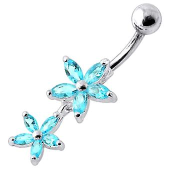 Belly Bar Navel Piercing 925 Sterling Silver, Body Jewellery, Flowers Aquamarine Stones