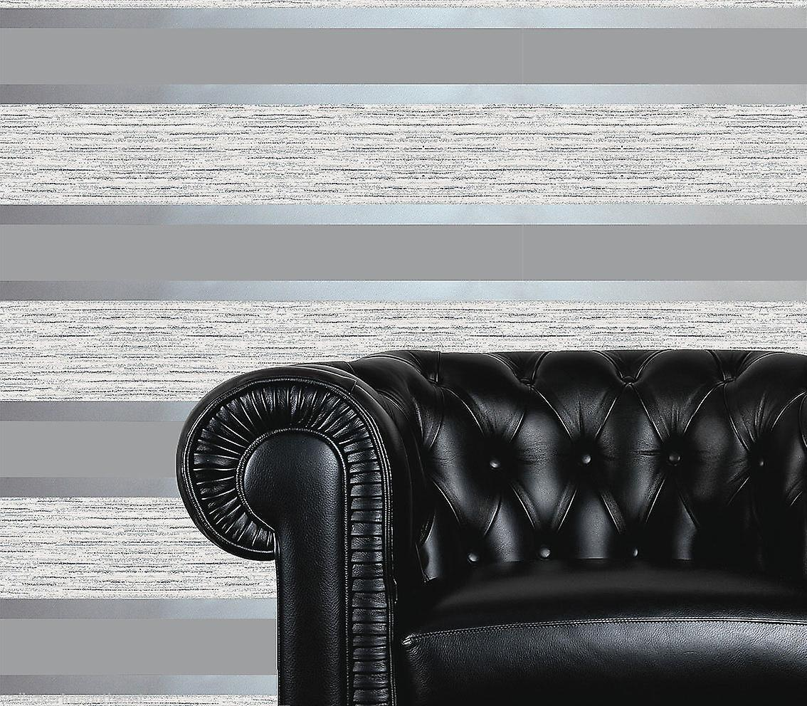 Direct Wallpapers Striped Grey Silver Stripes Retro Embossed Metallic Wallpaper