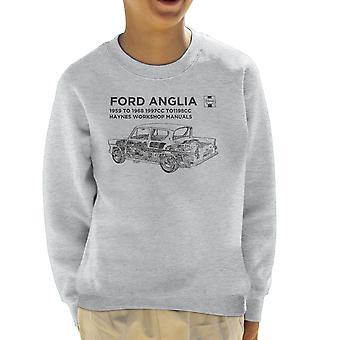 Haynes Workshop Manual 0001 Ford Anglia Black Kids Sweatshirt