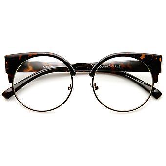 Womens Half Frame Semi-Rimless Clear Lens Cat eye Round Glasses