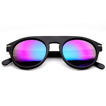 Retro 70s Fashion Round Flat Top P3 Color Tint Lens Sunglasses