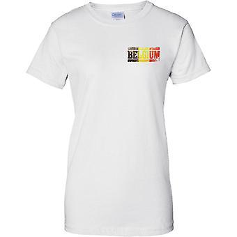 Efeito de bandeira nome Bélgica Grunge Country - senhoras peito Design t-shirt