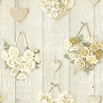 Roses Wallpaper Flower Floral Bouquet Hearts Wood Panel Cream