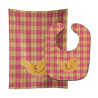 Carolines Treasures  BB7090STBU Chicken Hen on Gingham Baby Bib & Burp Cloth