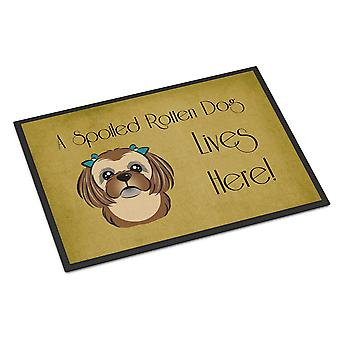 Chocolate Brown Shih Tzu Spoiled Dog Lives Here Indoor or Outdoor Mat 24x36