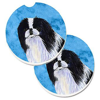 Blue Japanese Chin Set of 2 Cup Holder Car Coasters
