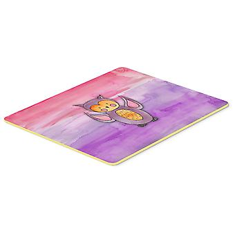 Pink and Purple Owl Watercolor Kitchen or Bath Mat 20x30