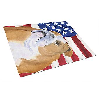 USA American Flag with Bulldog English Glass Cutting Board Large