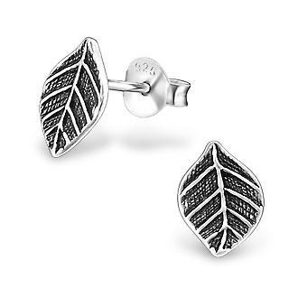 Leaf - 925 Sterling Silver Plain Ear Studs