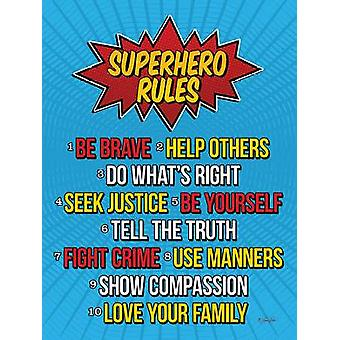 Superhero Rules Poster Print by Lauren Rader (12 x 16)