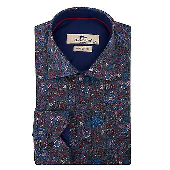 Claudio Lugli Blue Floral Mens impression chemise