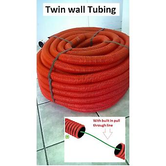 Flexible Corrugated Tubing - 50 Meter Roll -Twin Wall - Trunking Conduit 40mm OD