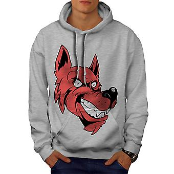 Wolf Face Cartoon Men GreyHoodie | Wellcoda